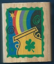 RAINBOW POT of GOLD  Irish Clover CANADIAN MAPLE COLLECTION NEW RUBBER STAMP