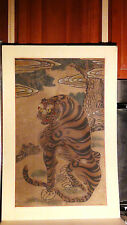ANTIQUE QING DYNASTY CHINESE TIGER UNDER TREE ORIGINAL SCROLL PAINTING SEALED