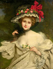 Hand painted Oil Francois Martin-Kavel young noble lady wearing hat black Scarf