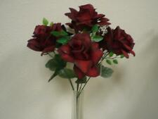 "2 Bushes BLACK RED Open Roses Artificial Silk Flowers 15"" Bouquet 7-039BKRD"