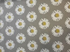 CLARKE & CLARKE CAPRI CHARTREUSE YELLOW GREY FLORAL DAISY RETRO CURTAIN FABRIC