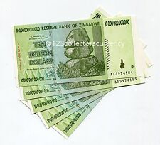 ZIMBABWE 10 TRILLION 2008 UNC INFLATION CURRENCY x 5 Pieces BANKNOTES MONEY- AA