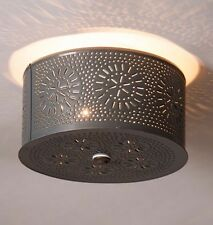 PRIMITIVE ROUND CEILING LIGHT WITH CHISEL PUNCHED TIN DESIGN/COUNTRY LIGHTING