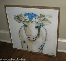 COW Blue Floral Wall PICTURE*Wood Frame*Primitive/French Country/Farmhouse Decor