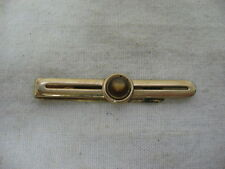 Vintage SWANK High Luster Brown Stone/Jewel Gold Tone Tie Clip Tie Clasp ~ 2.75""