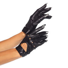 Adult Bad Girl Black Motorcycle Claw Gloves Halloween Accessory Fancy Dress