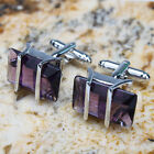 New Design Noble Amethyst Men's Wedding Party Gift Smooth Cufflinks Cuff Links