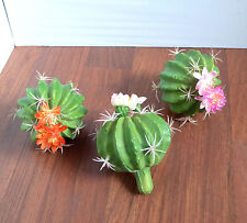 3 Artificial Flowering Cactus Balls Succulents Mini Grass Landscape