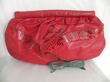 Vtg Shelby Designs Hand Bag / Clutch / Shoulder  Red Leather Snake Pattern Lined