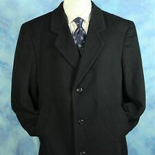 Black Wool Cashmere Woven in ITALY Mens 44R Overcoat Topcoat Silver Cloud ICONIC