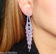 SILVER AB IRIDESCENT RHINESTONE CRYSTAL BRIDAL EVENING PARTY LONG EARRINGS