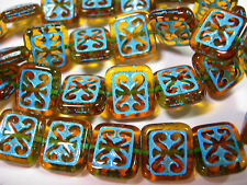 15 Dark Amber Turquoise Wash Czech Glass Rectangle Beads 11x12mm