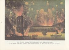 """1974 Vintage Currier & Ives NYC """"FIREWORKS OVER BROOKLYN BRDGE"""" COLOR Lithograph"""