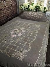 Pastels! Antique Tambour Embroidered Floral Lace Tulle c1900 Coverlet 96x68""