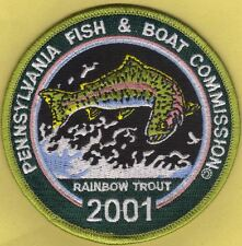 """Pa Pennsylvania Fish Commission NEW 2001 Rainbow Trout Stamp 4"""" Fishing Patch"""