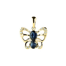 14K YELLOW GOLD PAVE NATURAL DIAMOND & BLUE SAPPHIRE BUTTERFLY PENDANT NECKLACE