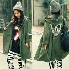 New Korea Women's Punk Skull Head Hooded Coat Rain Trench Outerwear Jacket ESY1
