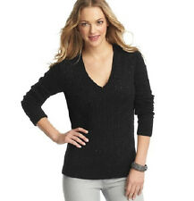 Ann Taylor Loft Mini Sequin V neck Cable Sweater Black M NWT