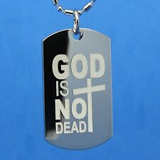 GOD is not DEAD - dog tag necklace - custom engrave the back of this for free!