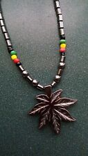 Jamaican Rasta Hematite beads maple leaf weed pot leaf pendant necklace