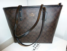 NWT Coach Signature City Zip Tote F58292-Brown/Black