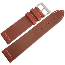 22mm ColaReb Venezia Mens Red Leather Made in Italy Aviator Watch Band Strap