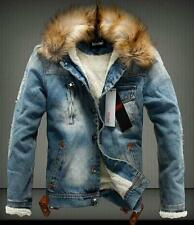 New Men's Warm Fur Denim Jacket Fleece Thick Padded jeans Coat Outwear Parka