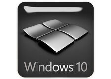 """Windows 10"" Gunmetal LIMITED EDITION 1""x1"" Chrome Domed Case Badge / Sticker"