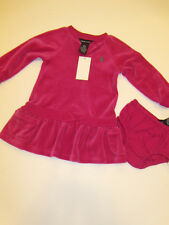 NWT Girls Ralph Lauren Polo Pink Fleece Pony Dress Sz 12M Outfit Long Sleeve NEW