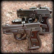 Steampunk gun cufflinks cuff links wedding free Gift BOX revolver flintlock