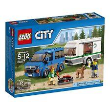 LEGO CITY Van & Caravan 60117 RV Camper Trailer with 2 figures & dog