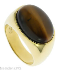 Sleek Tiger Eye Oval 18K Gold Overlay Mens Ring Size 12