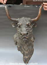 """21""""Chinese Bronze Fengshui Cattle Oxen Bull Head Vizard Mask Wall Hanging Statue"""