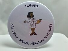 ETHNIC NURSE GIFT - BLACK FEMALE IN LAB COAT DRESS -PINBACK BUTTON -UNIQUE GIFTS