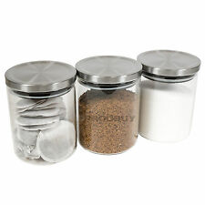 Tea Coffee Sugar Storage Canisters Set 800ml Glass Containers Jars Rice Pasta