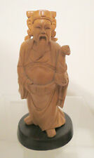 CHINESE CULTURAL REVOLUTION ERA HAND CARVED BOXWOOD GOD OF WEALTH FIGURE