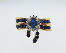 Estate Natural Blue Sapphires Diamonds Solid 10k Yellow Gold Bowtie Ring