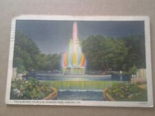 LINEN POSTCARD THE ELECTRIC FOUNTAIN HERSHEY PARK HERSHEY PA.1938