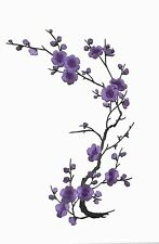 """#6767B 10-5/8"""" Purple Quince, Sakura Flower Embroidery Iron On Applique Patch"""