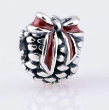 PINE CONE RED BOW Genuine 925 sterling silver charm bead fits European bracelet