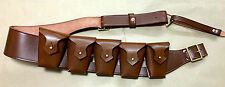 RIGHT SHOULDER UK 1903 Pattern Leather Cavalry Bandolier - 5 Pocket JAWA COSTUME