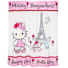 Hello Kitty BONJOUR PARIS Rhinestones Fabric Shower Curtain NIP VHTF DISC 2012