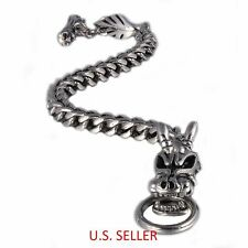 Men's 316L Stainless Steel Dragon Biker Bracelet Bone Toggle Clasp 9'' (23cm)