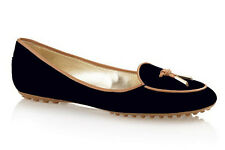 NIB TOD'S Black Suede Ballet Flat w/Front Brown Leather Lace Gold Logo Tie 40/10