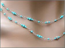 "*PI*AAA Blue SLEEPING BEAUTY TURQUOISE .925 SS LONG 36"" ADJ Necklace! sundance"