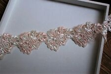 High quality, Lovely Light Pink+Ivory Venise Lace Trim- selling by the yard