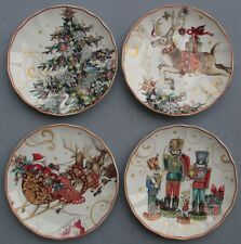 Set 4 Williams-Sonoma Twas the Night Before Christmas Salad / Dessert Plates NEW