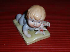 ANTIQUE/VINTAGE PORCELAIN BABY WITH TEDDY BEAR 3 1/2 INCHES