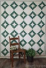 c1850 Antique Pine Green White Chimney Sweep QUILT Beautiful Quilting Civil War