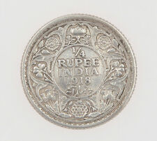 India 1918 1/4 Rupee King George V silver coin  #M015
